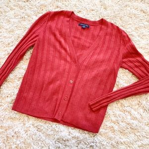 American Eagle Red Ribbed Button Up Cardigan